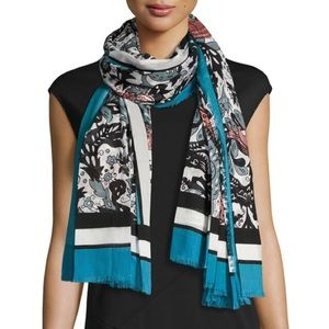 Burberry Beasts & Leaves Lt. Blue Cotton Shawl